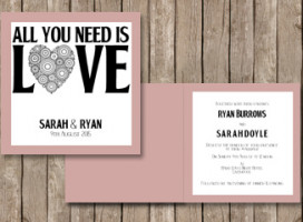 All you need is love Folded card invitation