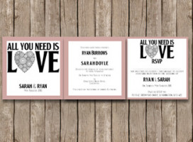 All you need is love – Tri-fold wedding Invitation