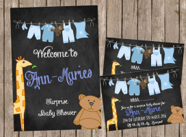 Washing Line Baby Shower Invitations